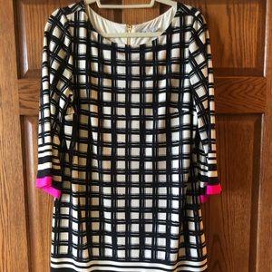 Eliza J pink, black and white dress
